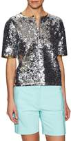 Cynthia Rowley Women's Sequin Crewneck Top