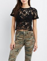 Charlotte Russe Crochet Lace-Up Crop Top