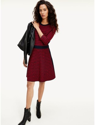 Tommy Hilfiger Cube Monogram Fit And Flare Dress