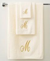 "Avanti Bath Towels, Monogram Initial Script Ivory and Gold 11"" x 18"" Fingertip"