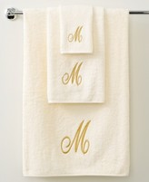 "Avanti Bath Towels, Monogram Initial Script Ivory and Gold 27"" x 52"" Bath Towel"