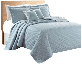 Sherry Kline Rombo Embroidered 3-piece Quilt Set, Light Blue, King