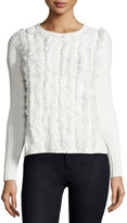1 STATE 1.STATE Fitted Ribbed Sweater with Fringe Trim, Ivory