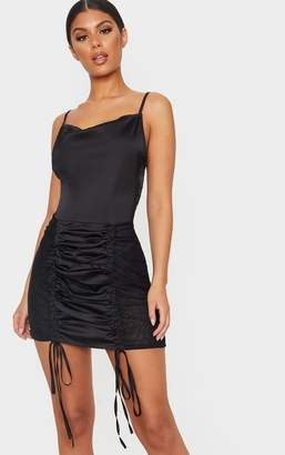 PrettyLittleThing Black Strappy Satin Mesh Panel Ruched Bodycon Dress