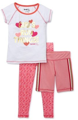 KensieGirl Girls Active Graphic T-Shirt, Printed Leggings, & Mesh Shorts, 3-Piece Active Set, Sizes 7-16