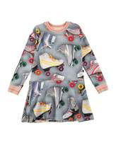 Molo Conny Roller Skating Fit-and-Flare Dress, Blue/Multicolor, Size 2T-12
