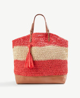 Ann Taylor Straw Carryall Tote