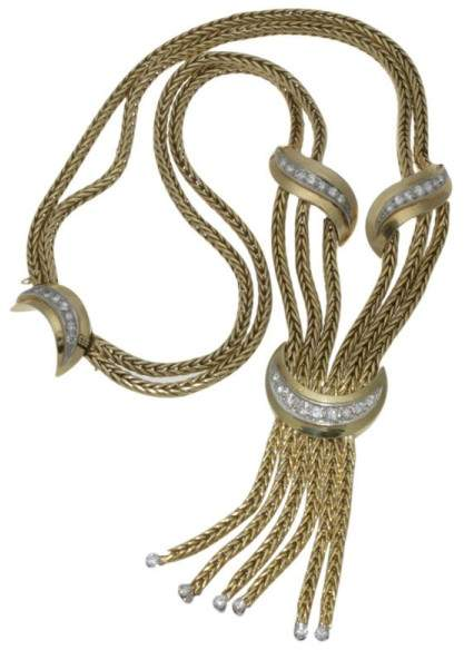Tiffany & Co. & Co.18kt Yellow Gold and Diamond Tassel Necklace