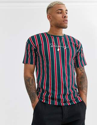 ONLY & SONS dropped shoulder vertical stripe logo t-shirt in red