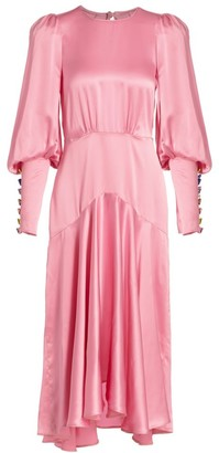 ANNA MASON Eliza Silk Blouson-Sleeve Midi Dress