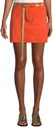 Diane von Furstenberg Belted Button-Front Suede Mini Skirt