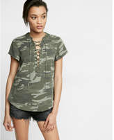 Express Camouflage Lace-up Short Sleeve Top