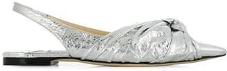 Jimmy Choo silver Annabell slingback flat pumps
