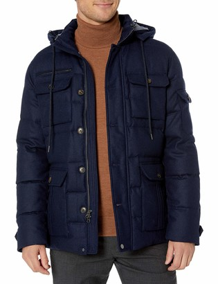 Buttoned Down Amazon Brand Men's Water Repellant Duck Down Wool Flannel Parka
