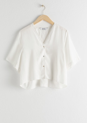 And other stories Boxy V-Cut Button Up Blouse