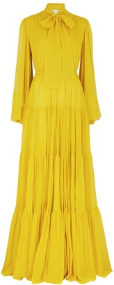 Giambattista Valli Yellow pleated chiffon gown
