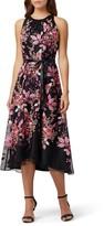 Tahari Floral Embroidered High/Low Midi Dress