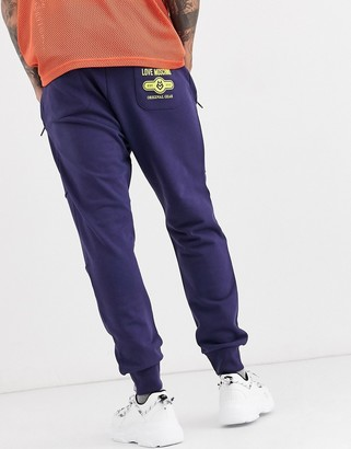 Love Moschino logo joggers-Blue