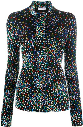 Paco Rabanne Geometric Print Long-Sleeve Blouse