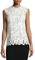 Monique Lhuillier Sleeveless Lace Peplum Top, White