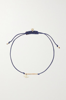 Sydney Evan Evil Eye 14-karat Gold, Cord And Diamond Bracelet