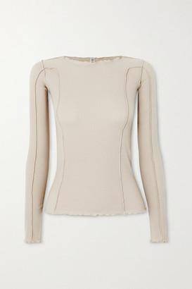 Base Range Net Sustain Omato Ribbed Stretch-organic Cotton Top - Gray