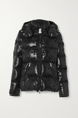 MONCLER GENIUS +4 Simone Rocha Callitris Appliqued Hooded Quilted Glossed-shell Down Jacket - Black