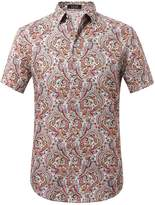 SSLR Men's Flower Casual Button Down Short Sleeve Shirt