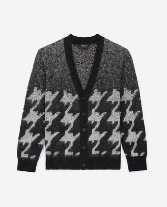 The Kooples Houndstooth-pattern contrast-trim knitted cardigan