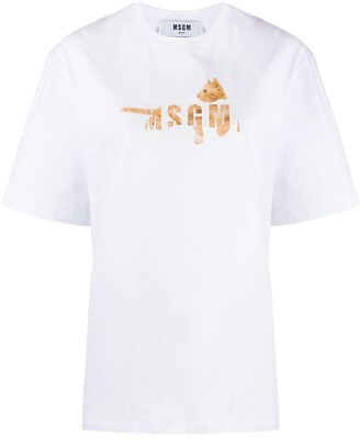 MSGM logo cat-print T-shirt