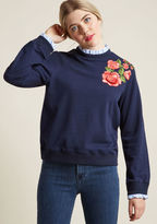 ModCloth Bookstore Beguilement Embroidered Sweatshirt in L