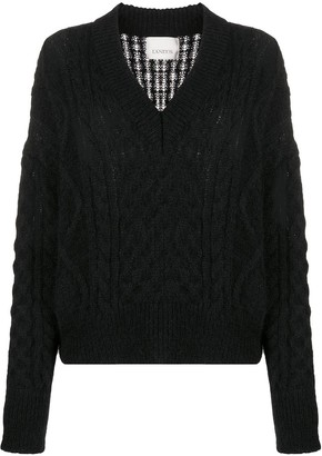 Laneus V-neck cable knit sweater