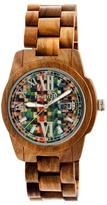 Earth Wood Heartwood Skateboard Dial Wood Bracelet Watch, 43mm wide