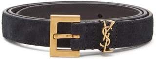 Saint Laurent logo Suede Belt - Womens - Black