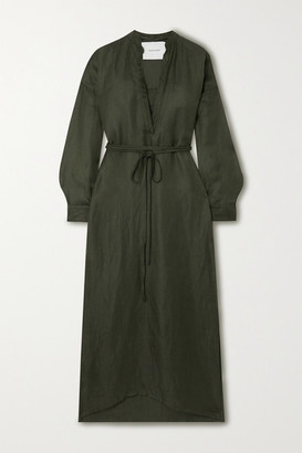 BONDI BORN Belted Cotton And Linen-blend Maxi Dress - Army green