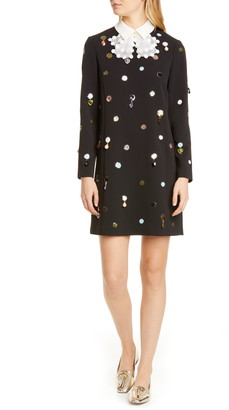Tory Burch Jewel Embellished Removable Collar Long Sleeve Shift Dress