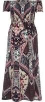 River Island Womens Purple scarf print shirred bardot maxi dress