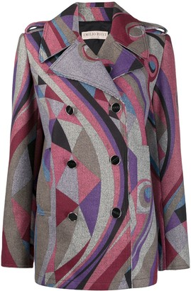 Emilio Pucci Abstract Print Double-Breasted Coat