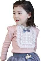 Zhengpin Elegant Kids Girls Bowknot Cotton Lace Long Sleeve Shirt Toddler Blouse Tops