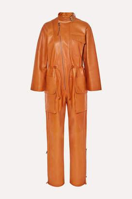 Salvatore Ferragamo Leather Jumpsuit - Orange