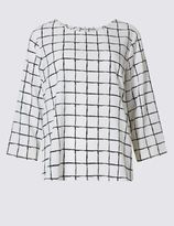 Marks and Spencer Checked Dipped Hem 3/4 Sleeve Shell Top