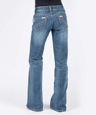 Stetson Women's Denim Pants and Jeans BLUE - Gray Chevron-Pocket Bootcut Jeans - Women
