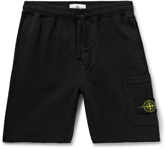 Stone Island Slim-Fit Logo-Appliqued Garment-Dyed Loopback Cotton-Jersey Shorts