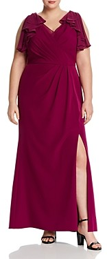 Adrianna Papell Ruffled Chiffon & Crepe Gown