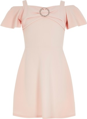 River Island Girls Pink diamante bardot skater dress