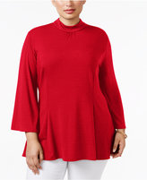 NY Collection Plus Size Mock-Turtleneck Swing Top