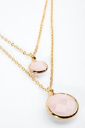 francesca's Brenna Rose Quartz Layered Necklace - Blush
