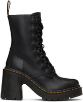 Thumbnail for your product : Dr. Martens Black Chesney Flared Heel Lace-Up Boots