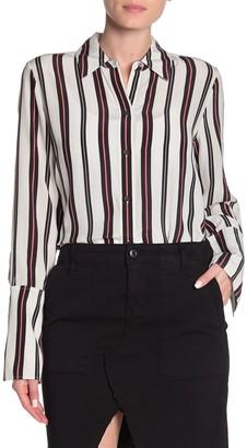 Frame Stripe Print Silk Blouse