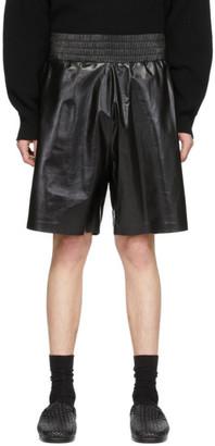 Bottega Veneta Black Shiny Leather Shorts